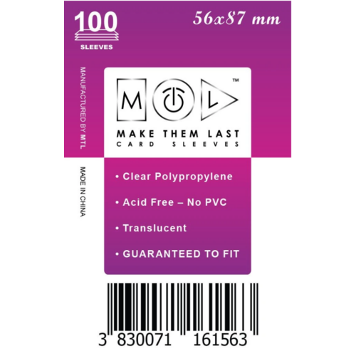 MTL 56x87 mm standard kártyavédő 100db - nagy lila