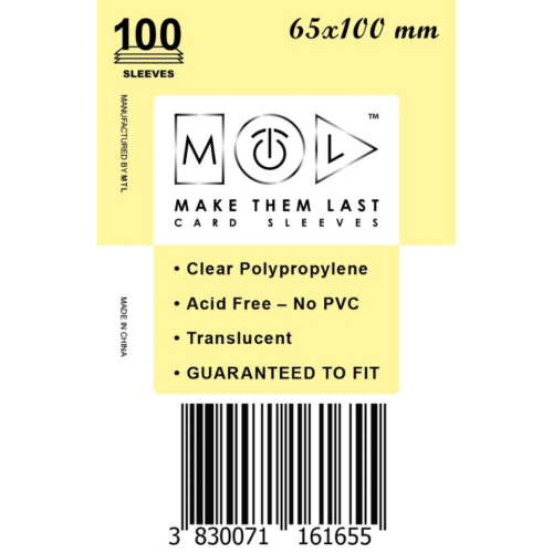 MTL 65x100 mm standard kártyavédő 100db - citrom