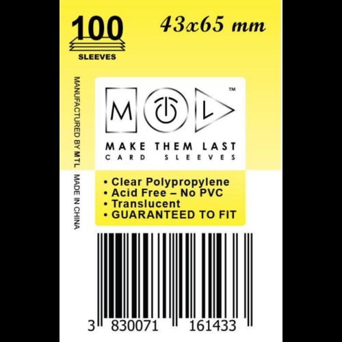 MTL 43x65 mm standard kártyavédő 100db - sárga