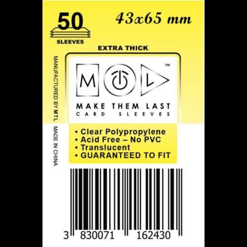 MTL 43x65 mm premium kártyavédő 50db - sárga