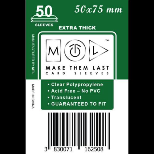 MTL 50x75 mm premium kártyavédő 50db - sötétzöld