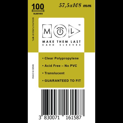 MTL 57,5x108 mm standard kártyavédő 100db - mustár
