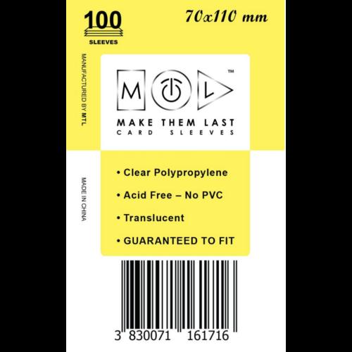 MTL 70x110 mm standard kártyavédő 100db - sárga