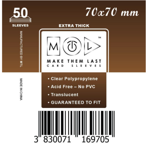 MTL 70x70 mm premium kártyavédő 50db - sötét barna