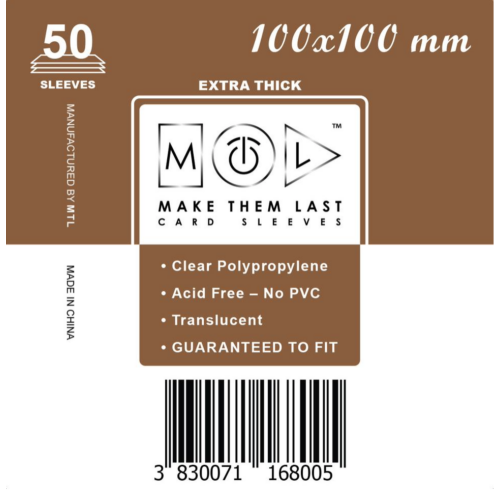 MTL 100x100 mm premium kártyavédő 50db - sötét barna