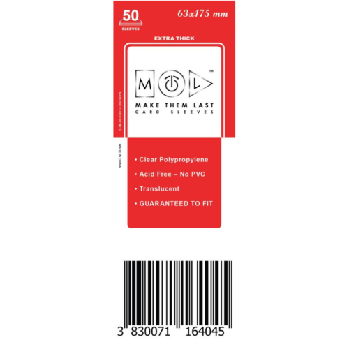MTL 63x175 mm premium kártyavédő 50db - piros